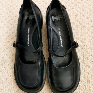 Hush puppies s6 black slightly heeled shoes